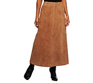 As Is Denim & Co. Washable Suede Skirt with Seaming Detail - A253598
