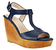 G.I.L.I. T-strap Leather Faux Wood Wedges - Michelle - A254598
