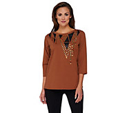 Bob Mackies Faux Leather Applique and Studded Top - A258898