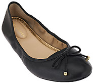 Marc Fisher Leather Ballet Flats w/ Bow Accent - Calandre - A263998