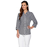 Denim & Co. Crinkle Check 3/4 Sleeve Shirt with Button Front - A265698