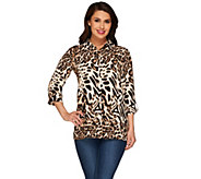 Susan Graver Printed Feather Weave Button Front Shirt - A266798