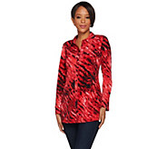 Susan Graver Printed Liquid Knit Button Front Tunic - A267998