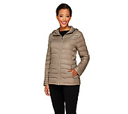 As Is Liz Claiborne New York Zip Front Packable Puffer Coat - A268298
