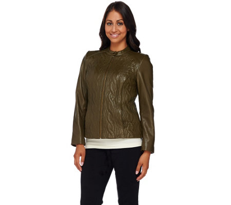 Isaac Mizrahi Live! Quilted Cable Lamb Leather Jacket