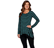 LOGO by Lori Goldstein Striped Knit Top with Hi-Low Lace Trim Hem - A268898