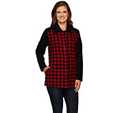 Denim & Co. Houndstooth Printed Fleece Button Front Big Shirt - A271398