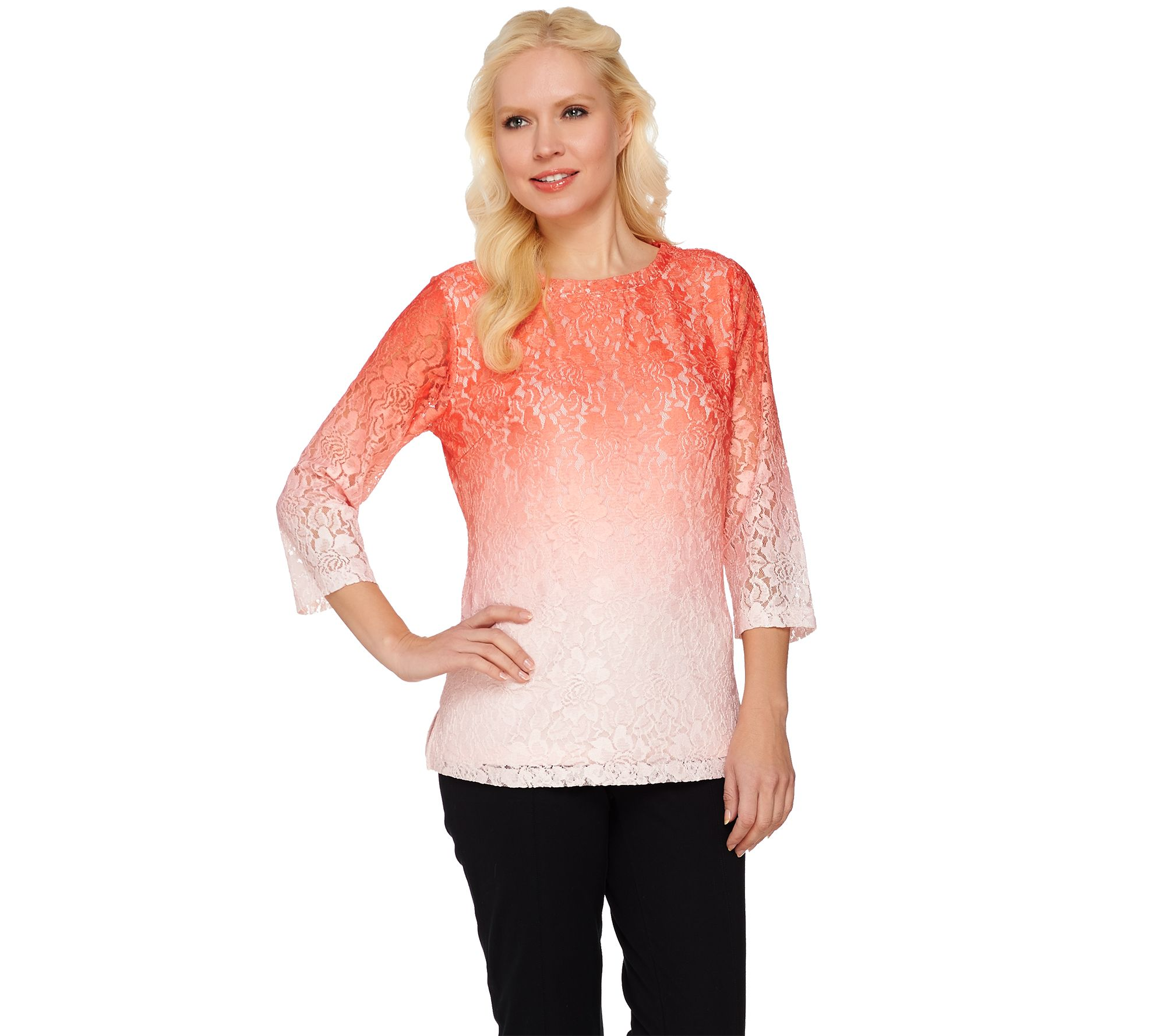 Isaac Mizrahi Live Printed Ombre Lace 3 4 Sleeve Top