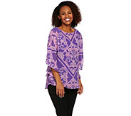 Bob Mackies Printed Caftan Top and Knit Tank Set - A273598