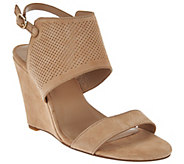 H by Halston High Wedge Suede Sandals - McKenzie - A276498
