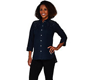 Quacker Factory DreamJeannes Be Jeweled 3/4 Sleeve Camp Shirt - A276698