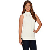As Is Whitney Port Pointelle Stitch Mock Neck Sleeveless Sweater - A277198