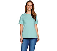 Denim & Co. Crew Neck Short Sleeve Top w. Neckline Embroidery - A278998
