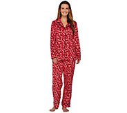 As Is Carole Hochman Micro Fleece Notch Collar Novelty Pajama Set - A280398