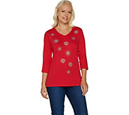 Quacker Factory Dazzling Bursts 3/4 Sleeve T-shirt - A281798
