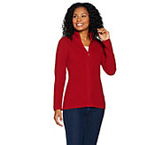 Susan Graver Zip Front Long Sleeve Sweater - A282098