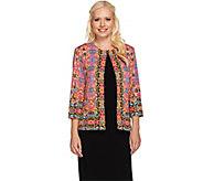 As Is Joan Rivers Vintage Scroll Jersey Knit Jacket w/ 3/4 Sleeves - A286698