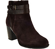 As Is Clarks Suede Side Zip Ankle Boots - Enfield River - A290698
