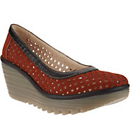 FLY London Leather Perforated Wedges - Yika - A290998