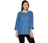 Martha Stewart Denim Split Neck 3/4 Sleeve Tunic - A301098