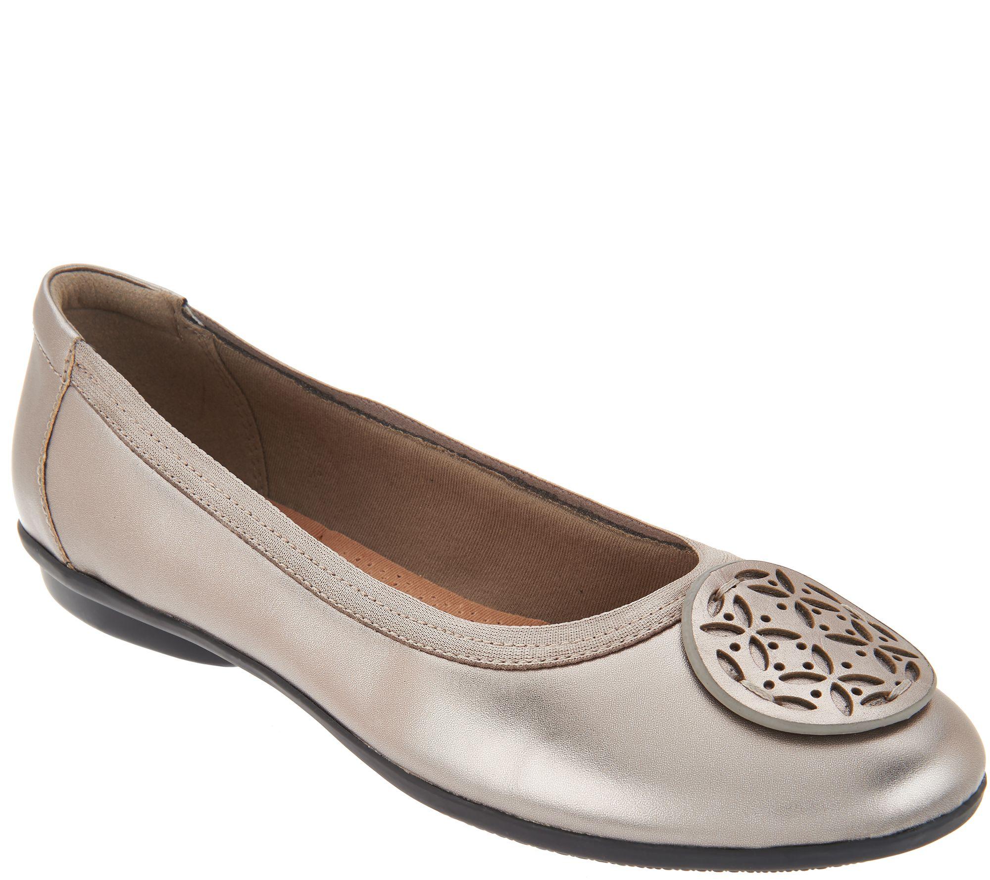 Clarks Leather Medallion Comfort Ballet Flats - Gracelin Lola - Page 1 —  QVC.com
