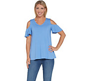 H by Halston Knit Crepe V-Neck Ruched Cold Shoulder Top - A308098