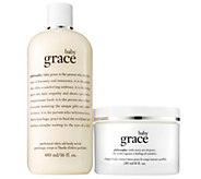philosophy baby grace olive oil body scrub andbody creme duo - A364698
