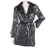 Dennis Basso Water Resistant Leopard Print Jacket with Removable Belt - A214199