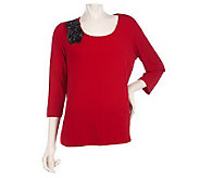 Susan Graver Liquid Knit Scoop Neck Top w/Faux Leather Rosettes - A216899