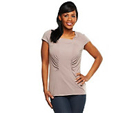 George Simonton Chic Jersey Square Neck Top with Seaming Detail - A230699