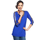 Lisa Rinna Collection 3/4 Sleeve Embellished Knit Top - A231399