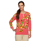 Isaac Mizrahi Live! Tossed Flower Printed Cardigan - A232199