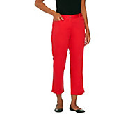 Susan Graver Solid Cotton Sateen Zip Front Crop Pants - A233099