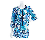 Liz Claiborne New York 3/4 Sleeve Floral Printed Tunic - A233799