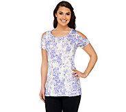 Lisa Rinna Collection Printed Cold Shoulder Knit Top - A251699