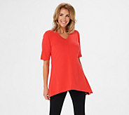 Denim & Co. Perfect Jersey V-neck Trapeze Hem Top - A254299