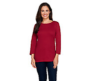 Liz Claiborne New York Essentials 3/4 Sleeve Crew Neck Tee - A256299