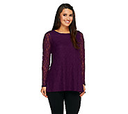 Joan Rivers Lace Swing Top with High-Low Hem - A258399