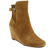 Isaac Mizrahi Live! Suede Wedge Ankle Boots - A258599