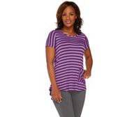LOGO by Lori Goldstein Short Sleeve Stripe Top w/ Back Pleat