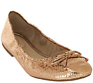 Marc Fisher Metallic Ballet Flats w/ Bow Accent Calendre - A263999