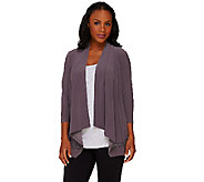 Joan Rivers Drape Front Knit Cardigan with Crochet Detail - A264999