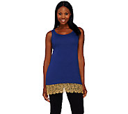 LOGO Lavish by Lori Goldstein Knit Tank with Lace and Beaded Trim - A265599