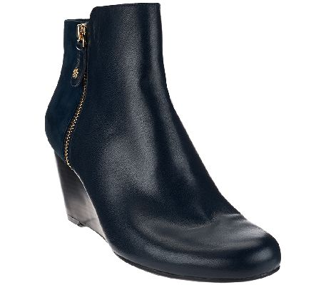 Isaac Mizrahi Live! Leather & Suede Wedge Ankle Boots - A268199