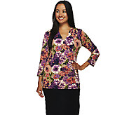 Liz Claiborne New York Surplice Wrap Printed Knit Top - A269199