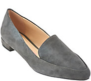 Isaac Mizrahi Live! Suede Loafers with Heel Hardware Detail - A269799