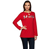 Quacker Factory Fur-Ever Merry Keyhole Long Sleeve T-Shirt - A270599