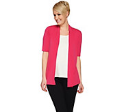 Susan Graver Liquid Knit Elbow Sleeve Open Front Cardigan w/Lace - A275199