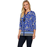 Susan Graver Printed Liquid Knit Button Front Shirt - A277799