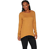 LOGO by Lori Goldstein Waffle Knit Top with Lace Trim - A282799